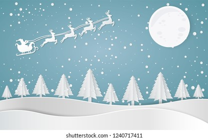 Merry christmas, Santa Claus Driving in a Sledge,Snow forest. pines in winter and mountain Paper vector Illustration