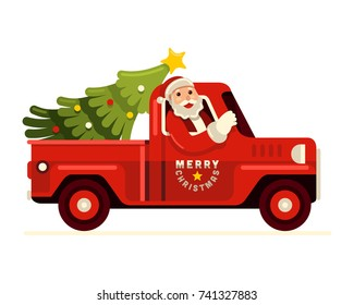 Merry Christmas! Santa claus driving red vintage pick up truck with christmas tree vector illustration