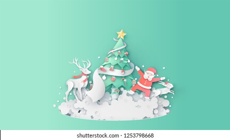 Merry Christmas. Santa Claus and friends together decorate the Christmas tree. Santa Claus and friends so happy in Christmas. paper cut and craft style. vector, illustration.