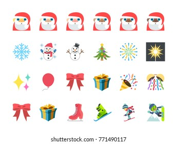 Merry Christmas, Santa Claus, holiday, tree, fireworks, snowboard, snowflake, gift box, vector illustration colorful symbols emojis, emoticons, stickers smileys icon set collection