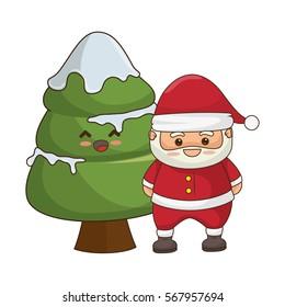 Merry Christmas Santa Claus Kawaii Character Vector De Stock Libre