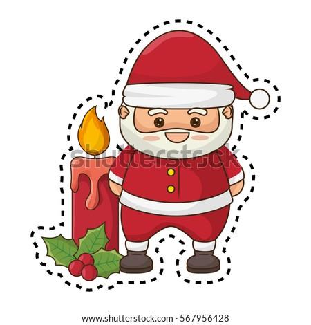 Merry Christmas Santa Claus Kawaii Character Stock Vector Royalty