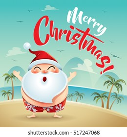 Merry Christmas! Santa Claus on the beach holiday.