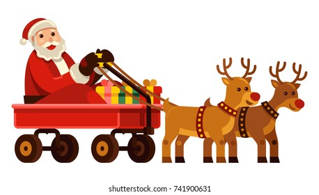 merry christmas! Santa Claus with red nose reindeer riding red wagon cart vector illustration