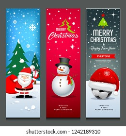 Merry Christmas, Santa Claus, snowman and hat, banners design vertical collections isolated background, vector illustration