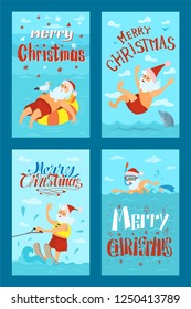 Merry Christmas, Santa Claus water activities on summer rest. New year character swimming with dolphin on summertime holidays vector. Water splashes and jumps in water
