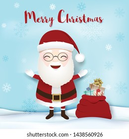 Merry Christmas. Santa with gift boxes and snow flake. Paper art, Paper craft illustration.  Christmas holiday season background