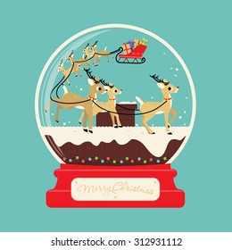 Merry christmas santa gifts with reindeers on the roof