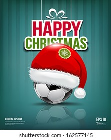 Merry Christmas, Santa hat on soccer ball background, vector illustration