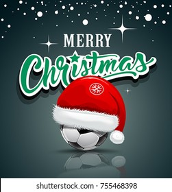 Merry Christmas, Santa hat on soccer ball design background, vector illustration