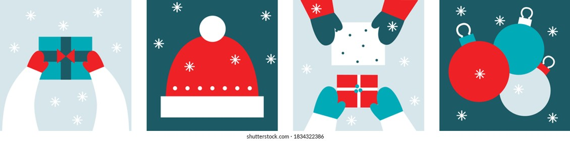 Merry Christmas scandinavian art set. Flat geometric style. Symbols holiday Christmas. Friends give gifts, Santa Claus hat, christmas tree decorations. Minimalism. All elements are isolated.