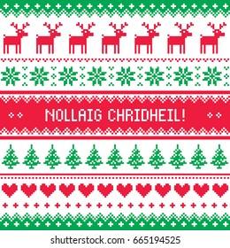 Merry Christmas in Scottish Gaelic greetings card, seamless pattern