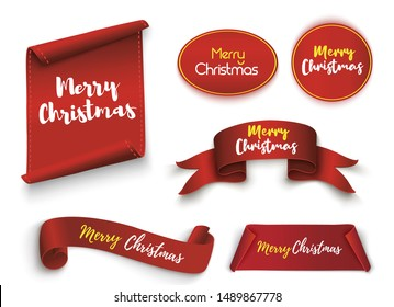 Merry Christmas Scroll red. realistic paper banners. Banner with a congratulation. Vector illustration.