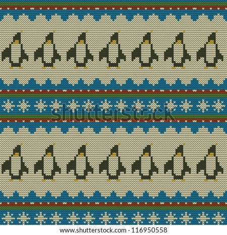 Merry Christmas Seamless Knit Pattern Penguins Stock Vector Royalty