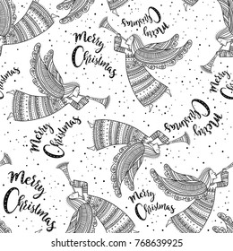 Merry Christmas seamless pattern with angel with horn and snow in night sky with stars. Can be printed and used as wrapping paper, background, wallpaper, textile, etc.