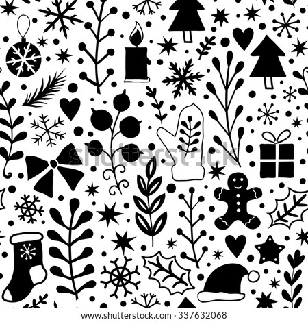 Merry Christmas Seamless Pattern Black White Stock Vektorgrafik