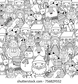 Merry Christmas seamless pattern for coloring book. Black and white background. Vector illustration