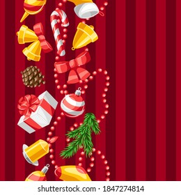 Merry Christmas seamless pattern. Holiday background with decorations.
