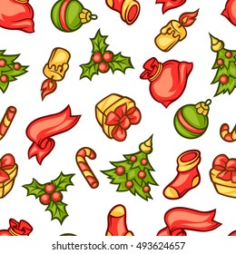 Merry Christmas seamless pattern with holiday symbols.