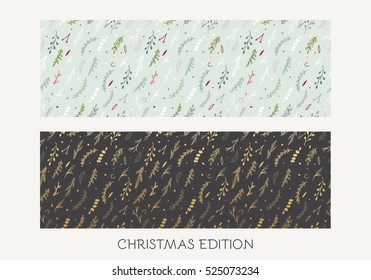 Merry Christmas seamless pattern. Horizontal banner with fir branches, flowers and decorative elements. Christmas hand drawn design.