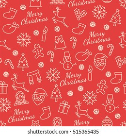 merry christmas seamless pattern with line icons, vector background