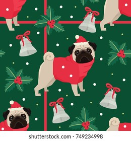 Merry Christmas Seamless pattern with the pugs Green background