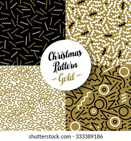 Merry Christmas seamless pattern set of fancy golden geometry designs in 80s retro style. Ideal for Xmas greeting card, web, or holiday party invitation. EPS10 vector.