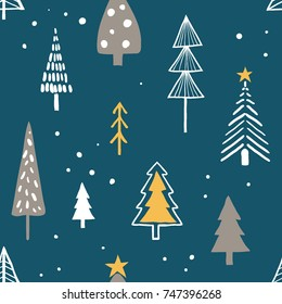 Merry christmas seamless pattern with simple minimalist trees on dark background. Doodle forest cartoon texture for greeting cards, fabric or wrapping paper designs.  Holiday, new year