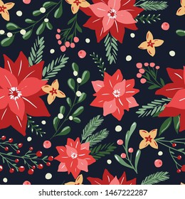 Merry Christmas seamless pattern in traditional colors with vector hand drawn illustration. Poinsettia flowers,flora branches on repeated background for wrapping paper, fabric, christmas decoration