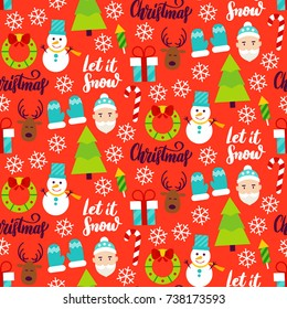Merry Christmas Seamless Pattern. Vector Illustration. Winter Holiday Background.