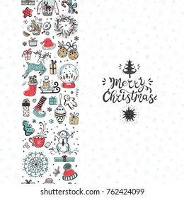 Merry Christmas seamless pattern vertical border. Xmas greeting Card Template. Happy Winter Holidays poster. New year. Vector Christmas Holiday banner