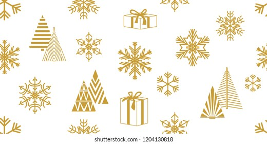 Merry Christmas seamless pattern. White and golden print with fir trees, gifts, snowflakes and other decorations.