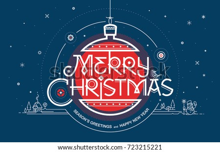 merry christmas seasons greetings and happy new year greeting card vector illustration