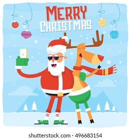 Merry Christmas Selfie with Santa Claus and Reindeer. Vector Winter Holiday Illustration landscape, with smartphone
