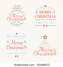Merry Christmas - set of decorations with wishes. Vector.