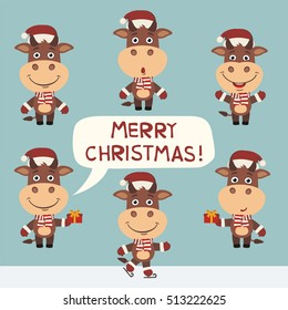 Merry Christmas! Set of funny cow in red hat in different poses.