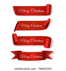 Merry Christmas. Set Red Ribbons. Vector illustration