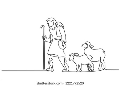 Merry Christmas shepherd and sheeps. Continuous one line drawing. Vector illustration