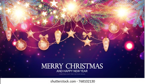 Merry Christmas Shining Background. Elegant New Year Decoration with Fir Tree Branches, Stars, Gold Garlands, Christmas Toys and Shining Lights. Vector illustration