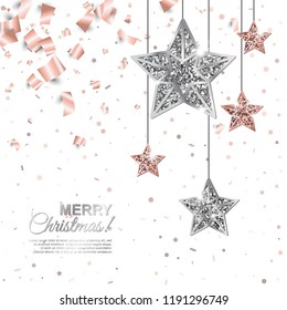 Merry Christmas shining banner with Hanging Rose Gold and Silver Stars on falling geometric and foil paper confetti background. Vector illustration. All isolated and layered
