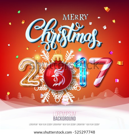 merry christmas sign 2017 decoration poster stock vector royalty