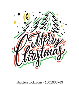 Merry Christmas sign for card hand drawn vector lettering. Isolated on white background.