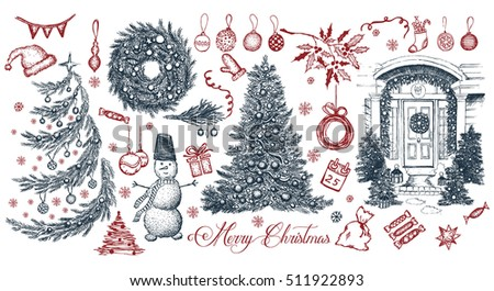 Merry Christmas Signs Collection Stock Vector Royalty Free
