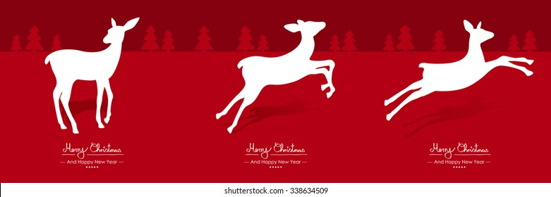 Merry Christmas - Simple Red Vector Greeting and Christmas Card Template Set with White Fawn Motion Sequence. Deer Shapes - Handwritten Greeting Text - Seasonal New Years Eve Background - X Mas, X-Mas