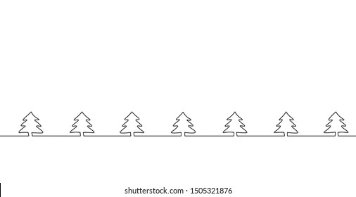 Merry Christmas single continuous line art. Holiday greeting card decoration christmas tree silhouette concept. Fir forest wood design one sketch outline drawing vector illustration