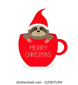 Merry Christmas. Sloth sitting in red coffee cup teacup. Santa hat. Face and hands. Cute cartoon character. Hello winter. Wild animal. Slow down. Baby education. White background. Flat design. Vector
