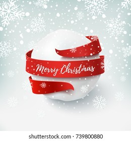Merry Christmas, snow ball with red bow and ribbon around, on winter background. Greeting card, brochure or poster template. Vector illustration.