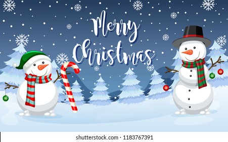 Merry Christmas snowman card illustration
