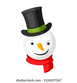 Merry Christmas snowman head in top hat. Accessory for festival and party.