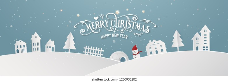 Merry Christmas snowy town day night and happy new year blue Xmas festival end year party silhouette. decoration greeting card abstract wallpaper background. Graphic design vector